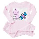 I wanna be a dragonfly Toddler Pink Pajamas