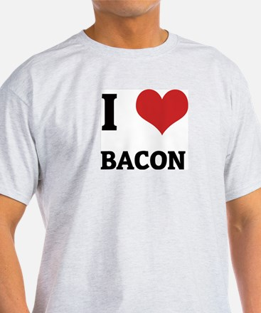I Love Bacon Ash Grey T-Shirt