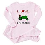 I Love Green Tractors Toddler Pink Pajamas
