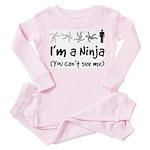 I'm a Ninja - (You can't see me) Baby Pink Pajamas