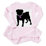 Pug Breast Cancer Support Toddler Pink Pajamas