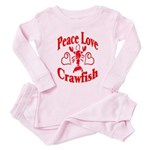 Peace Love Crawfish Toddler Pink Pajamas