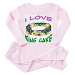 I LOVE KING CAKE Toddler Pink Pajamas
