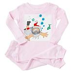 Scuba Diving Santa Toddler Pink Pajamas
