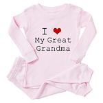 I Heart My Great Grandma Toddler Pink Pajamas
