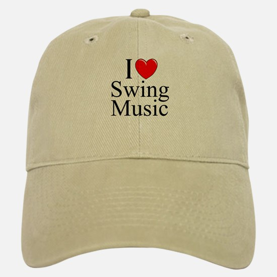 """I Love (Heart) Swing Music"" Baseball Baseball Cap"