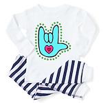 Aqua Bold Love Hand Toddler Pajamas