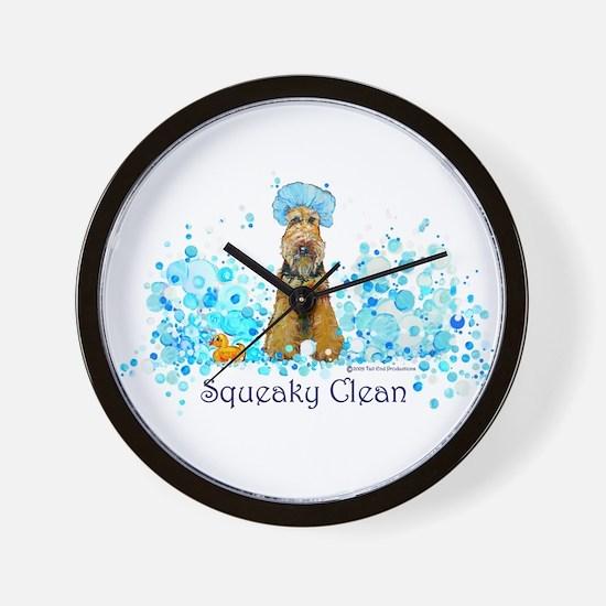 Welsh Terrier Bubble Bath Wall Clock