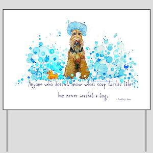 Welsh Terrier Bubble Bath Yard Sign
