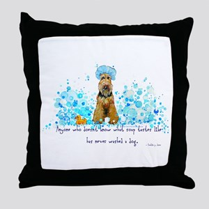 Welsh Terrier Bubble Bath Throw Pillow