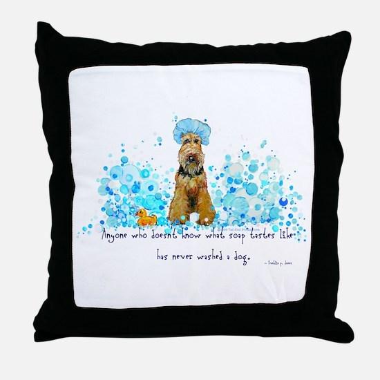 Welsh Terrier Bubble Bath Throw Pillow