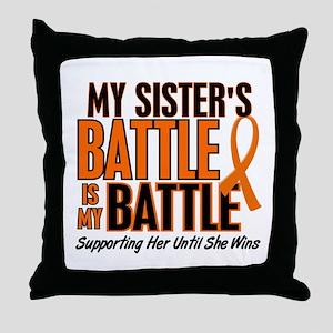 My Battle Too (Sister) Orange Throw Pillow
