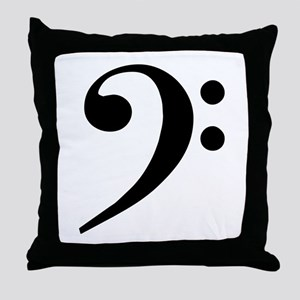 Trad Basic Black Bass Clef Throw Pillow