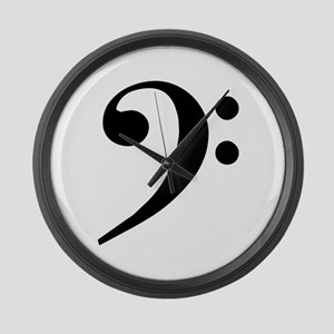 Trad Basic Black Bass Clef Large Wall Clock