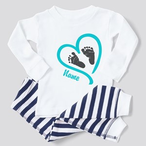 Baby Heart Blue Personalized Pajamas