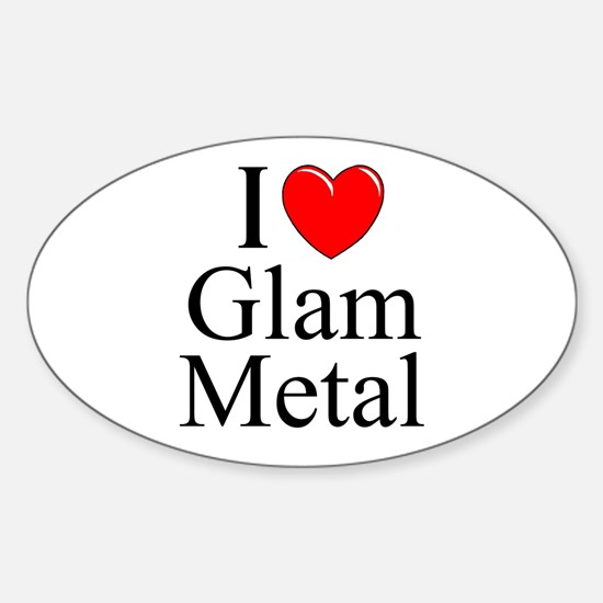 I love heart glam metal oval decal ·