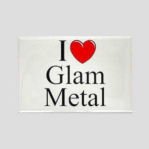 """I Love (Heart) Glam Metal"" Rectangle Magnet"