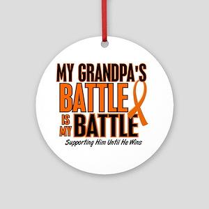 My Battle Too (Grandpa) Orange Ornament (Round)