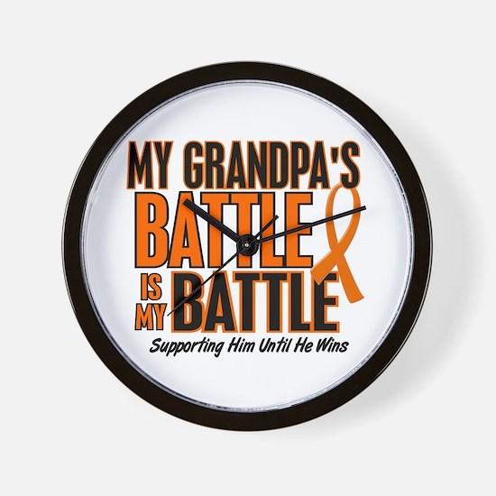 My Battle Too (Grandpa) Orange Wall Clock