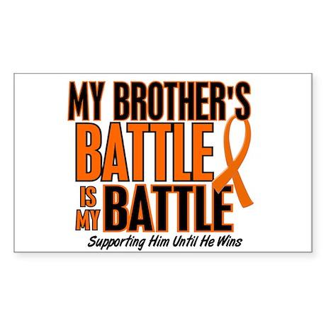 My Battle Too (Brother) Orange Rectangle Sticker