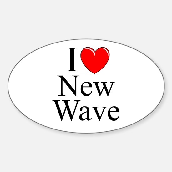 """I Love (Heart) New Wave"" Oval Decal"