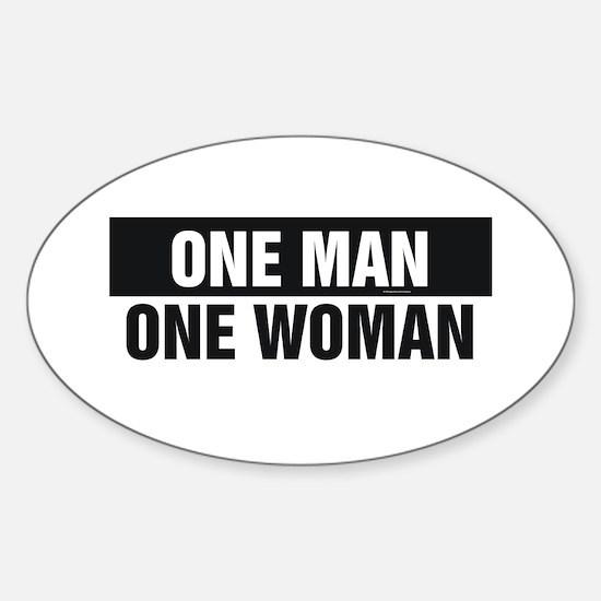 One Man One Woman Sticker (Oval)
