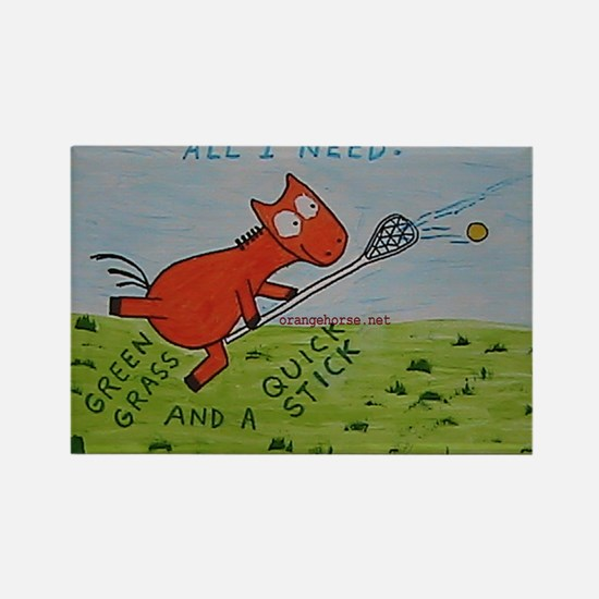 Orange Horse Lacrosse Quick s Rectangle Magnet