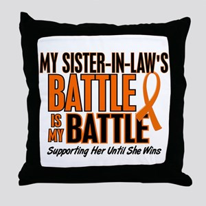 My Battle Too (Sister-In-Law) Orange Throw Pillow