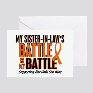 My Battle Too (Sister-In-Law) Orange Greeting Card