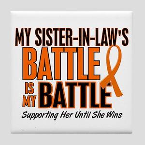 My Battle Too (Sister-In-Law) Orange Tile Coaster