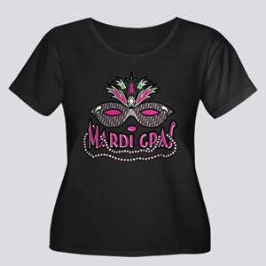 Mardi Gras Mask and Beads Women's Plus Size Scoop