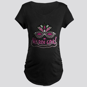 Mardi Gras Mask and Beads Maternity Dark T-Shirt