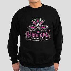 Mardi Gras Mask and Beads Sweatshirt (dark)