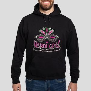Mardi Gras Mask and Beads Hoodie (dark)