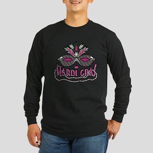 Mardi Gras Mask and Beads Long Sleeve Dark T-Shirt