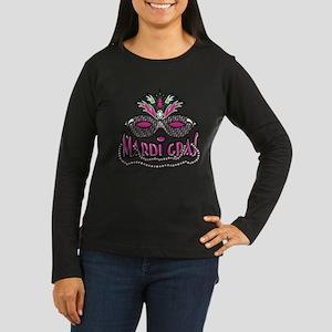 Mardi Gras Mask and Beads Women's Long Sleeve Dark