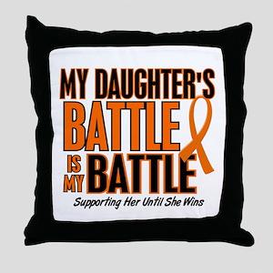 My Battle Too (Daughter) Orange Throw Pillow