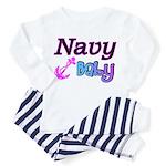 Navy Baby pink anchor Toddler Pajamas