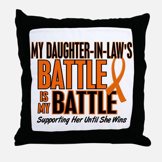 My Battle Too (Daughter-In-Law) Orange Throw Pillo