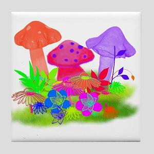 Magic Mushrooms Tile Coaster