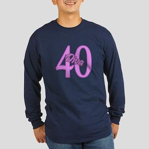 40th Birthday Diva Long Sleeve Dark T-Shirt
