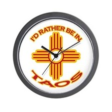 I'd Rather Be In Taos Wall Clock
