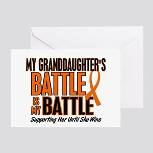 My Battle Too (Granddaughter) Orange Greeting Card