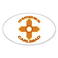 I'd Rather Be In Carlsbad Oval Sticker
