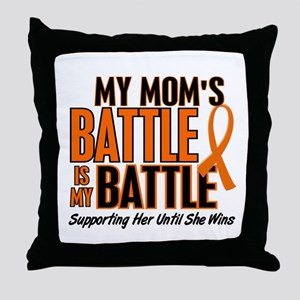 My Battle Too (Mom) Orange Throw Pillow