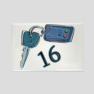 16th B-day Car Keys Rectangle Magnet