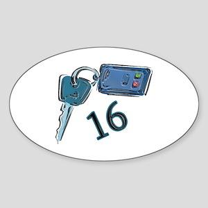 16th B-day Car Keys Oval Sticker