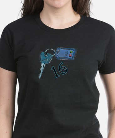 16th B-day Car Keys Women's Dark T-Shirt