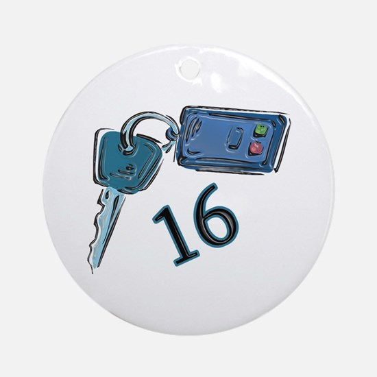 16th B-day Car Keys Ornament (Round)