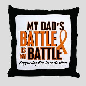 My Battle Too (Dad) Orange Throw Pillow